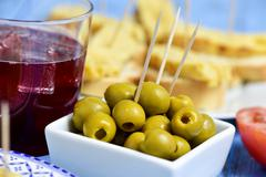 tinto de verano, olives, and spanish omelet - stock photo