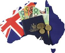 Map of Australia with Australian flag, passport and money cash dollar notes a Stock Photos