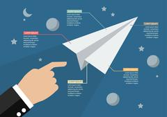 Hand launch paper rocket in space infographic Stock Illustration