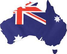 Map of Australia with Australian flag. Stock Photos