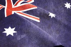 Grunge distressed aged old Australian flag for Anzac Day, 70th anniversary WW - stock photo