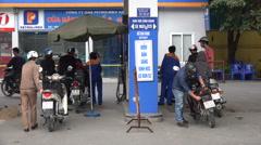 Petrol pump in Hanoi, service station, transportation, gasoline, Vietnam Stock Footage