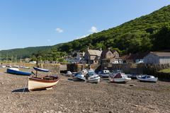 Porlock Weir Somerset England UK near Exmoor Heritage with boats - stock photo