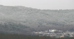 Pan footage of misty cold frost hill with frozen pine forest Stock Footage