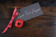 Lest We Forget, Red Flanders Poppy Lapel Pin Badge for November 11, Remembran Stock Photos