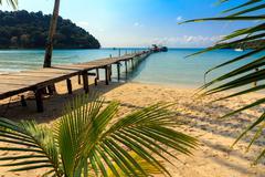 Idyllic tropical beach - stock photo