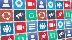 Seamless Loop of Abstract Social Media App Icons Moving (with Alpha Channel) Stock Footage