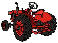 Classic red tractor Stock Illustration