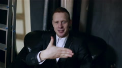 The magician showing a funny trick with the fingers. Finger appearing and disapp Stock Footage