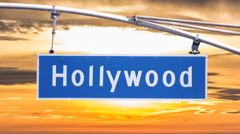 Hollywood Blvd Sign with Sunset Sky Time Lapse Stock Footage