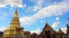 Pagoda and temple in North of Thailand, Lamphun Stock Footage