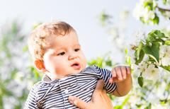 Happy loving family with baby son in blooming spring garden. Mother holding baby Stock Photos