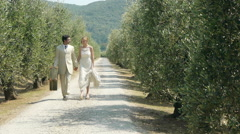 Newlywed couple walking on rural road with suitcase, stopping to kiss Stock Footage