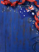 Happy Australia Day, January 26, theme dark blue vintage distressed wood back - stock photo