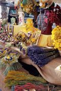 Dried flower stall, Maussane Stock Photos