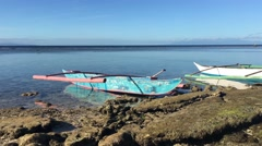 Catamaran Boat at the reef during low tide Stock Footage