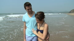 Couple walking by the sea - stock footage