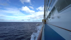 Cruise ship floating at sea. Ocean view from ship - Anthem of the Seas Stock Footage