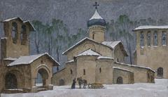 ILLUSTRATION OF A CHURCH IN THE MIDDLE OF WINTER - stock illustration