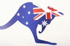 Kangaroo shaped Australian flag. - stock photo
