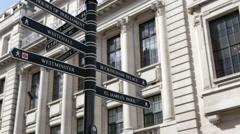 Camera tilts up to show London signpost Stock Footage