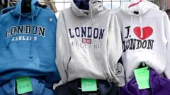 London souvenir sweatshirts Stock Footage
