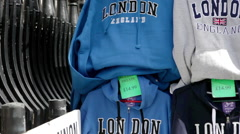 Stock Video Footage of London souvenir sweatshirts