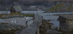 BIRDS FLYING ABOVE  BRIDGES, BARNS, CHAPELS ORGANICALLY FIT INTO THE LANDSCAPE - stock illustration