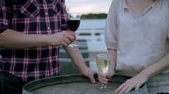 Couple tasting wine in vineyard Stock Footage