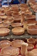 Olive wood bowls on market, Aix-en-Provence - stock photo