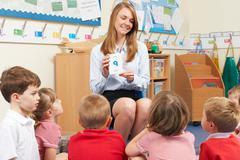 Teacher Using Flash Cards To Teach Maths To Elementary Class - stock photo