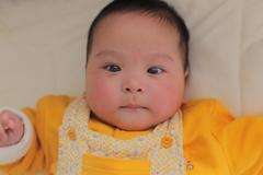 Portrait of a 5 months old cute baby girl Stock Photos