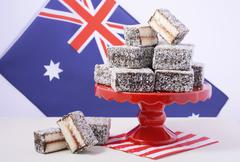 Traditional Australian Lamington Cakes Stock Photos