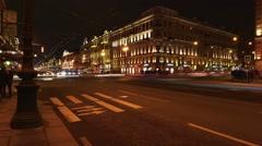 Time-lapse photography Nevskiy Prospect at night, Saint-Petersburg Stock Footage