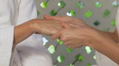 Woman having hand massage Stock Footage