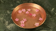 Bowl of water and flowers Stock Footage
