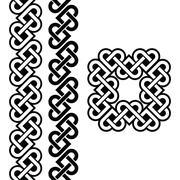 Celtic Irish knots, braids and patterns - stock illustration