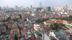 Residential apartment buildings, growing business district, Hanoi, urban Vietnam - stock footage