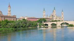 View of Zaragoza over the river Stock Footage