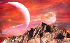 Rock mountain with red sky and twin moons as background - stock illustration