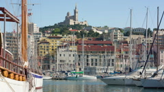 Zooming timelapse of Marseille port Stock Footage