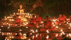 Magha puja day , Chiangmai, Thailand. Stock Footage