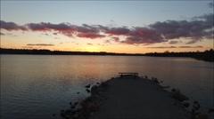 Lake Sunset Pull Away Stock Footage