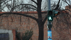 Unique Berlin zebra crossing stop light, green man with hat, Germany Stock Footage