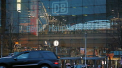 Trains, people, traffic outside Berlin Central train station rush hour, Germany Arkistovideo