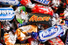 Heap of Mars, Snickers, Milky Way, Galaxy, Bounty and Maltesers candies Stock Photos