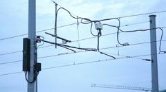 Tram train electricity line, Berlin, Germany Stock Footage