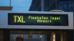 Flughafen Tegel Airport bus sign, transportation in Berlin, Germany - stock footage