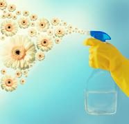Close up of hand with cleanser spraying flowers Stock Photos