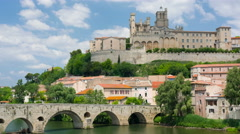 Beziers in a cloudy spring day Stock Footage